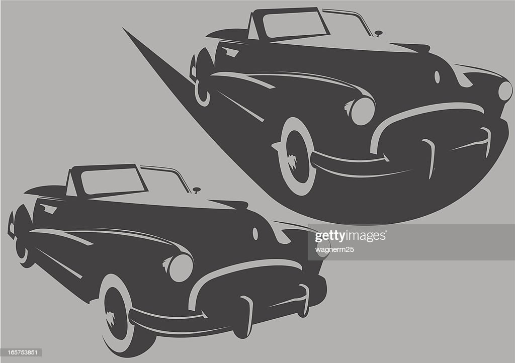 Old Convertible Car Stencil Vector Art | Getty Images