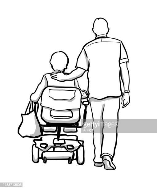 古いカップルの障害者の妻 - 年配の女性点のイラスト素材/クリップアート素材/マンガ素材/アイコン素材