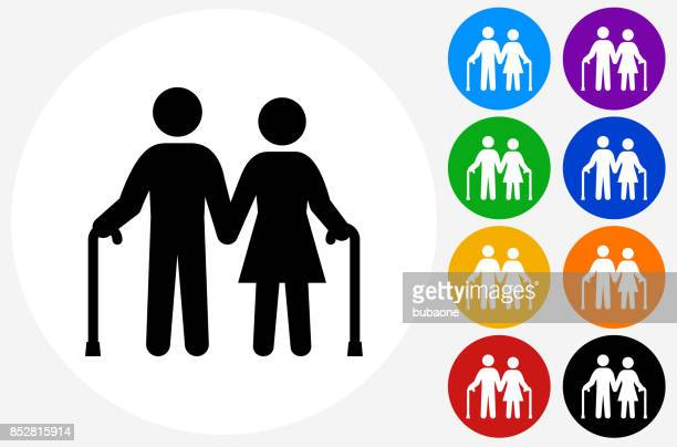 Old Couple Holding Hands on Flat Round Button