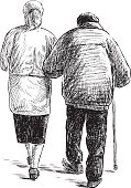 old couple on a walk
