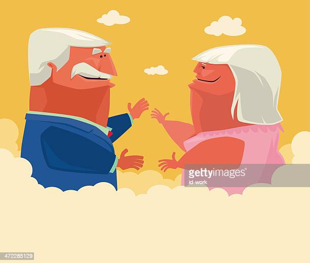 old couple - fat female cartoon characters stock illustrations