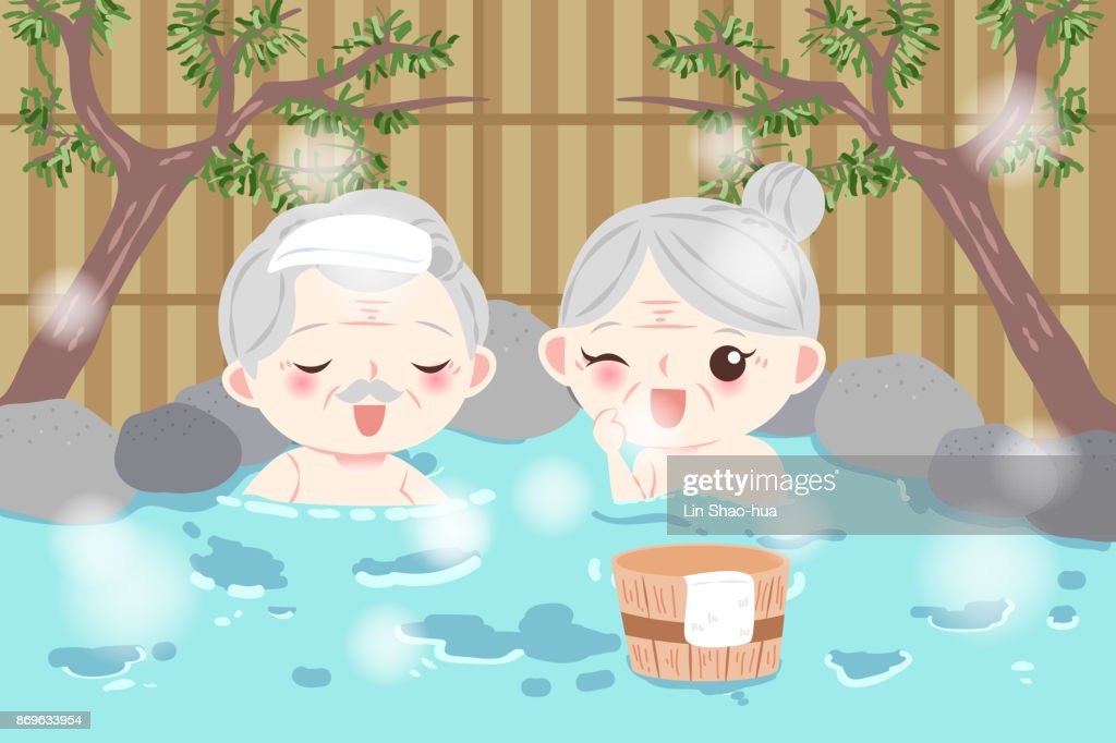 old couple with hot spring