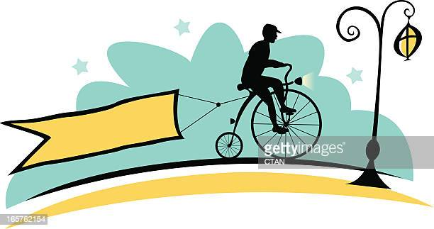 old cyclist and banner