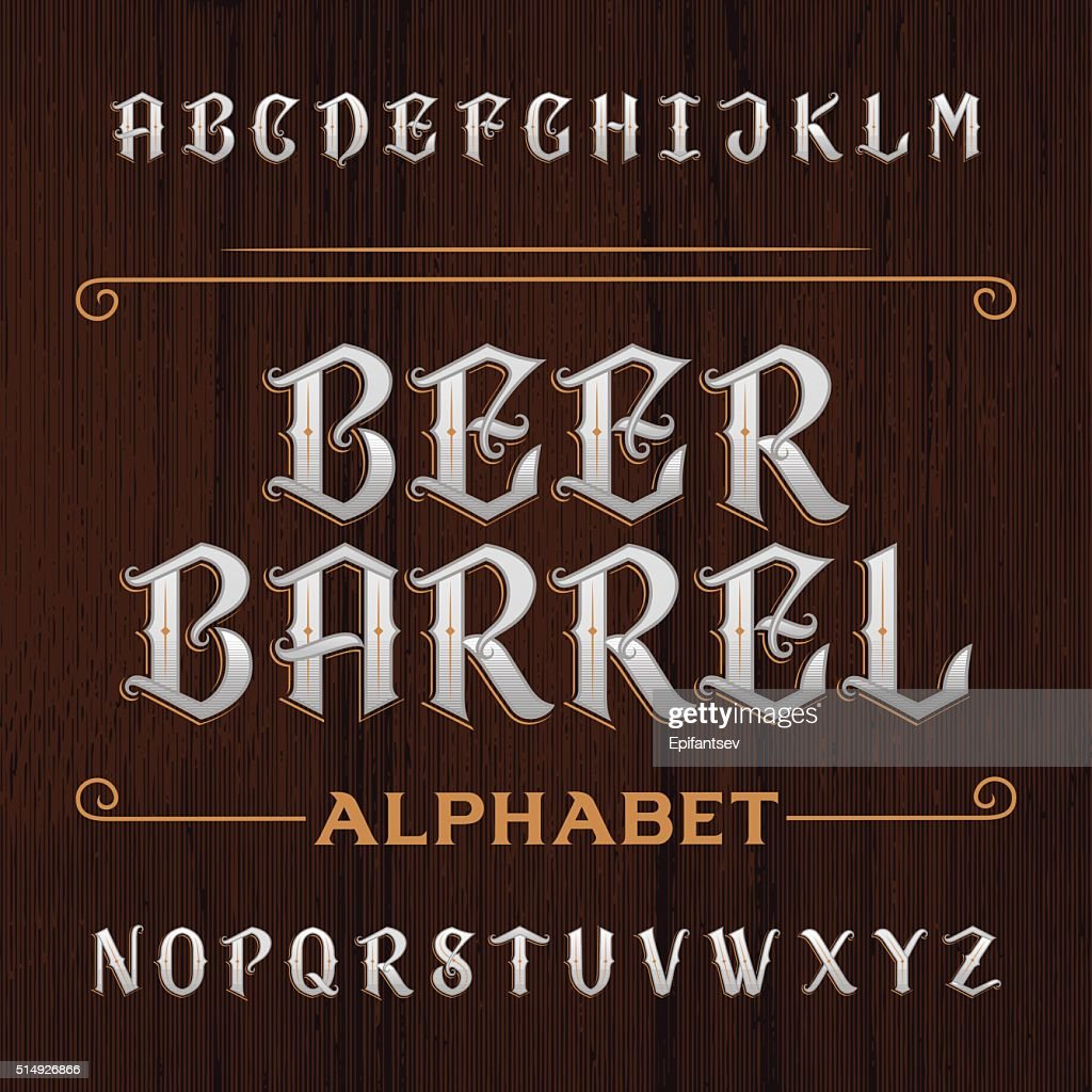Old decorative alphabet vector font. Wooden background.