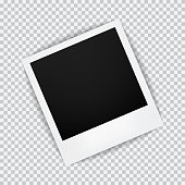 Old empty realistic photo frame with transparent shadow on plaid