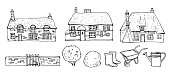 Old Europe coutryside houses, plants and tools. Vector sketch outline hand drawn illustration