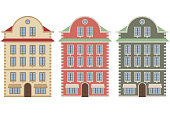 Old european city houses. Colored vector illustration