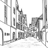 Old European street. Houses and buildings. Hand drawing sketch