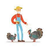 Old farmer man feeding turkeys, poultry breeding vector Illustration