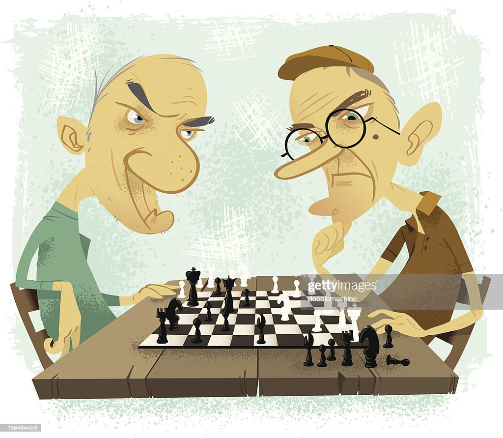 Old farts playing chess : stock illustration