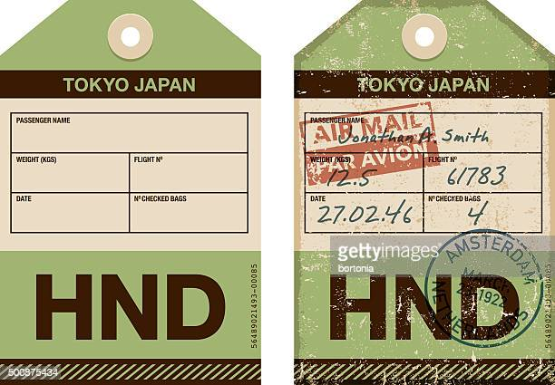old fashioned airport luggage tag icon - tokyo japan stock illustrations, clip art, cartoons, & icons
