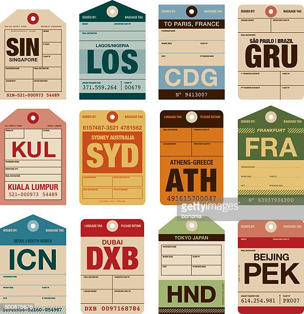 old fashioned airport luggage tags icon set - luggage tag stock illustrations, clip art, cartoons, & icons