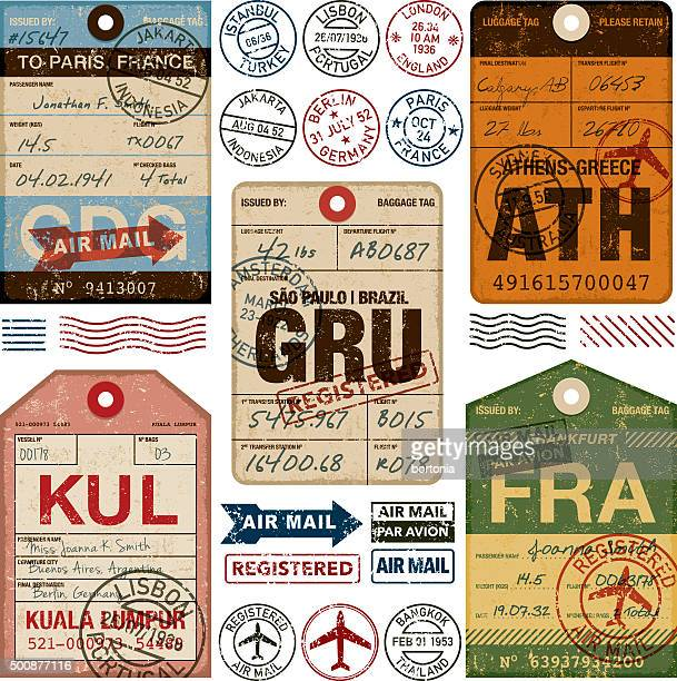 old fashioned airport luggage tags icon set - travel tag stock illustrations, clip art, cartoons, & icons