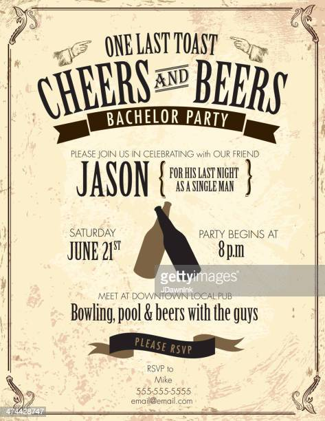 old fashioned bachelor party invitation design template - stag stock illustrations