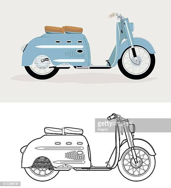 stockillustraties, clipart, cartoons en iconen met old fashioned blue scooter. - moped