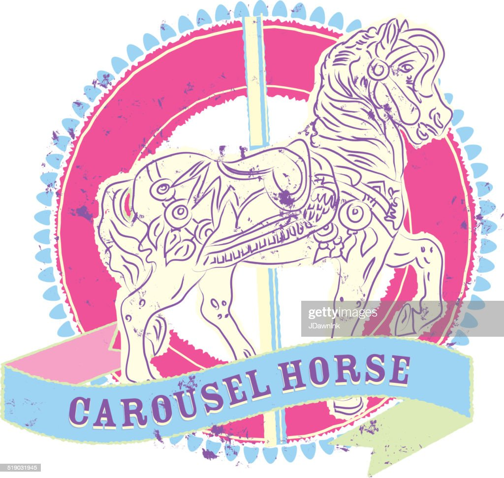 Old fashioned carousel horse design pink