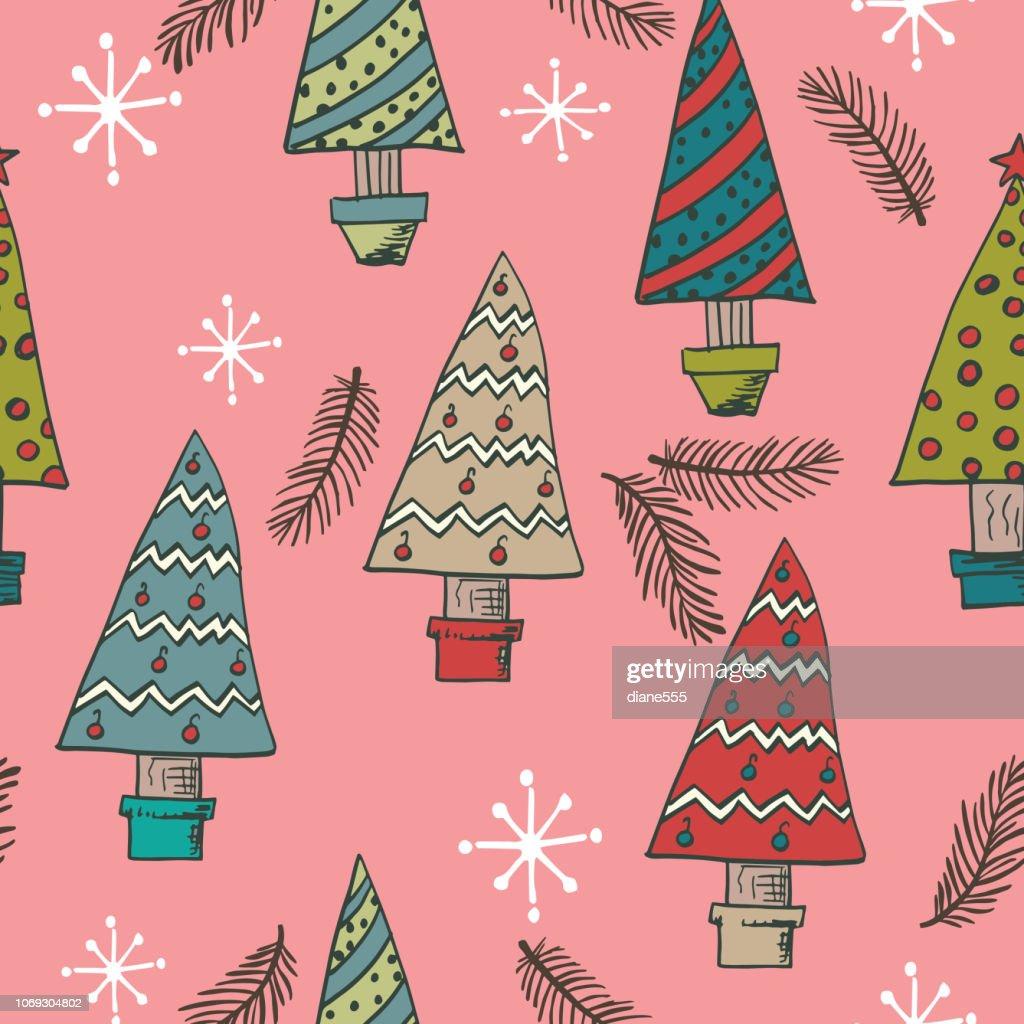 Old Fashioned Christmas Background Von Immergrunen Baumen Stock Illustration Getty Images