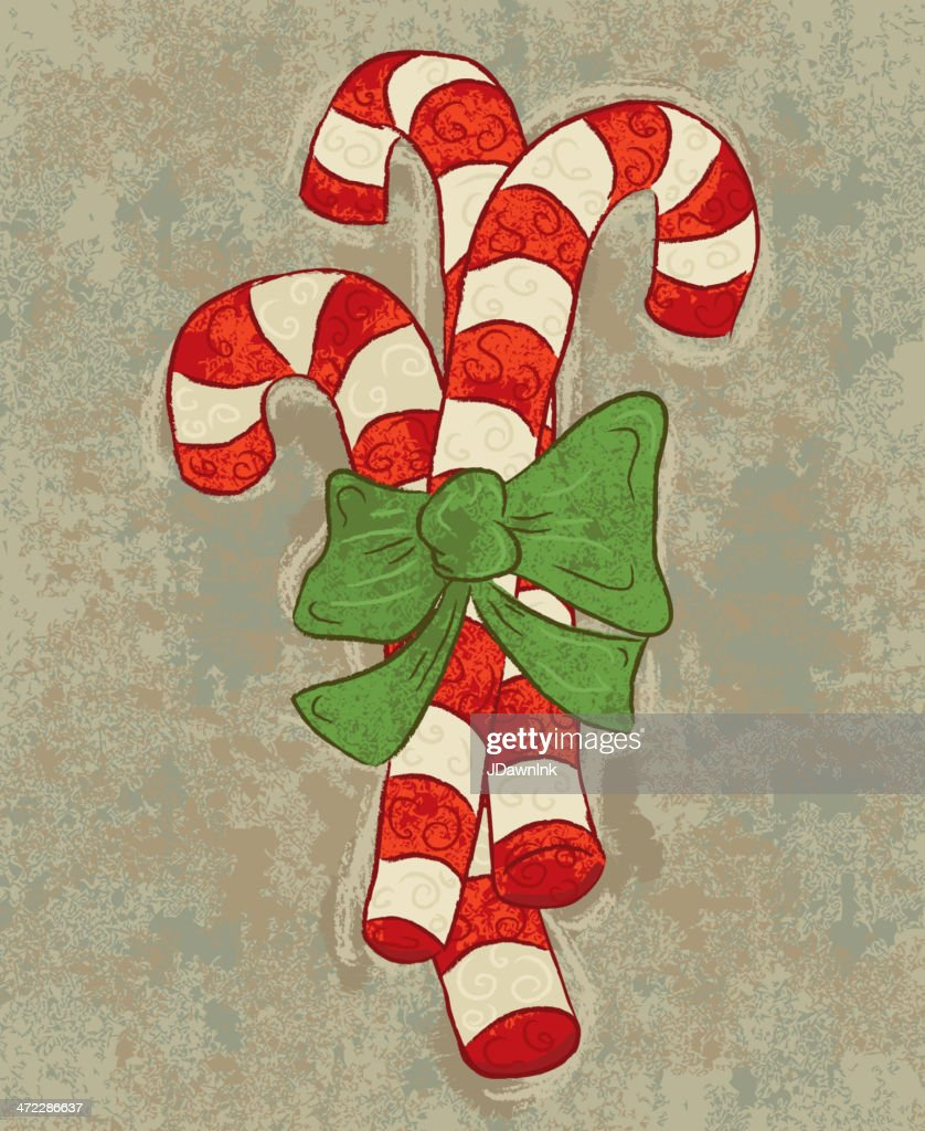 Old Fashioned Christmas Striped Candy Canes With Bow Vector Art ...