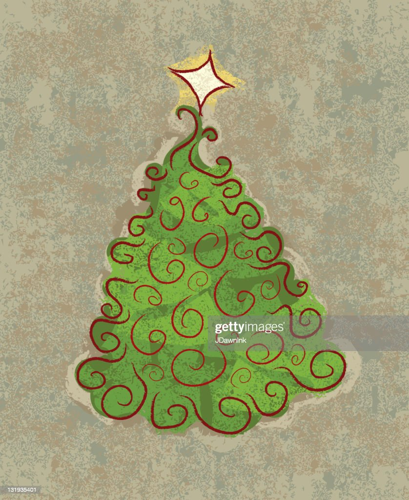 Old Fashioned Christmas Tree With Star Vector Art   Getty Images