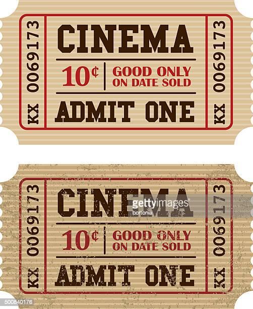ilustraciones, imágenes clip art, dibujos animados e iconos de stock de old fashioned cine icono de talón del boleto - entrada de cine