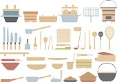 Old fashioned cooking utensils of the Japanese. Traditional culture of Japan.
