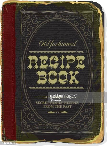 ilustrações, clipart, desenhos animados e ícones de old fashioned receita familiar capa de livro - capa de livro