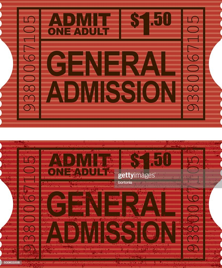 old fashioned general admission ticket stub icon vector art getty