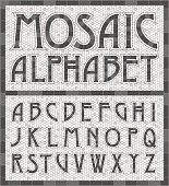 Old Fashioned Gray Mosaic Tile Alphabet Letters