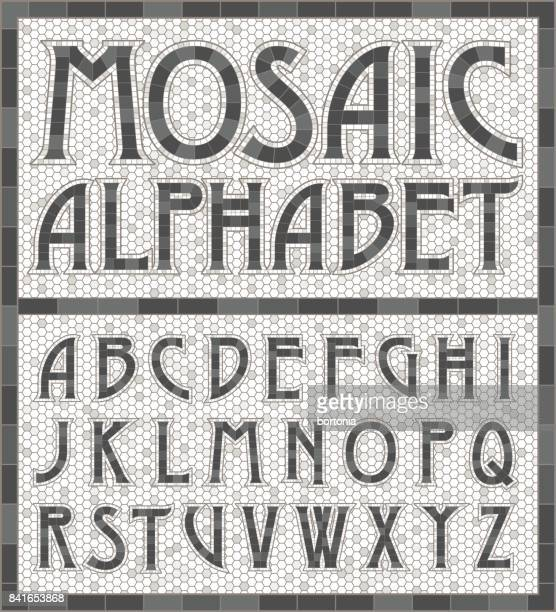 old fashioned gray mosaic tile alphabet letters - mosaic stock illustrations