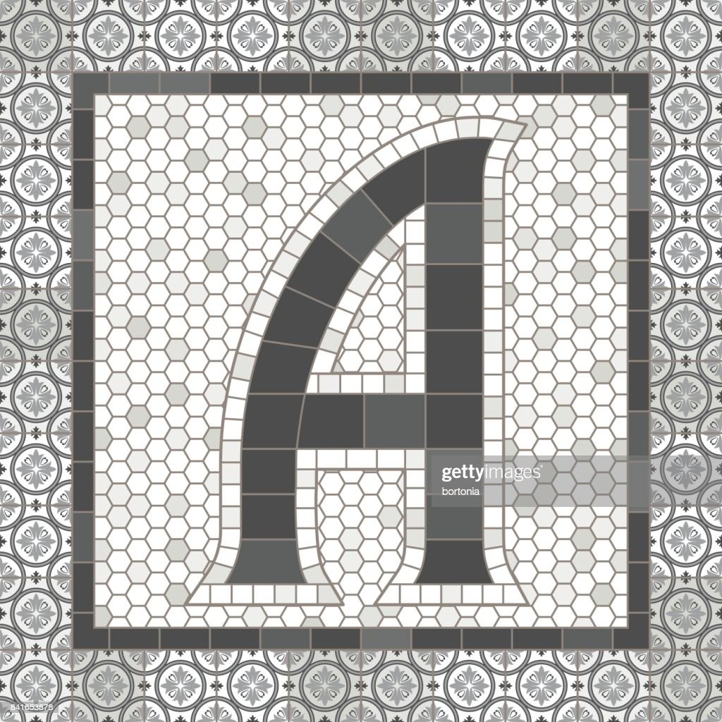 Old Fashioned Gray Mosaic Tile Alphabet Letters Stock