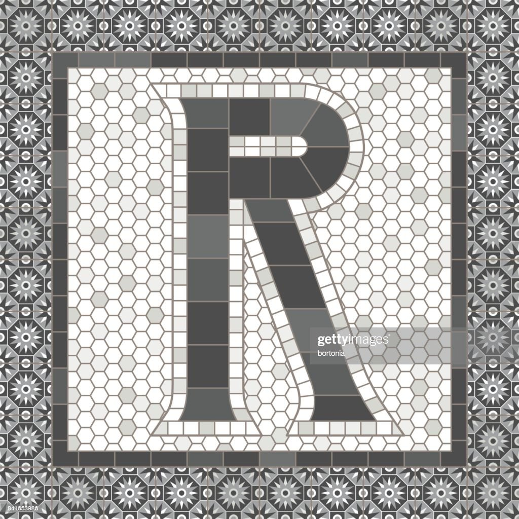 Old Fashioned Gray Mosaic Tile Alphabet Letters Vector Art Getty
