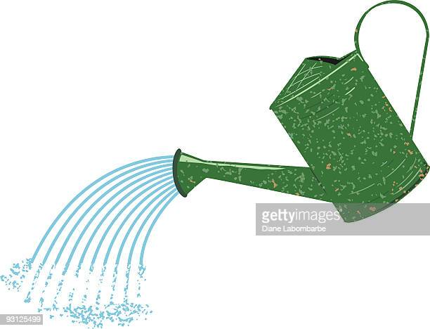 old fashioned green speckled watering can pouring water - watering can stock illustrations