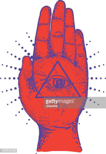 Vieja mano de hamsa envejecido símbolo palm con ojo