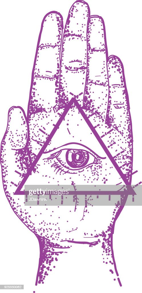 Old Fashioned Hamsa Symbol Palm Hand With Eye Vector Art Getty Images