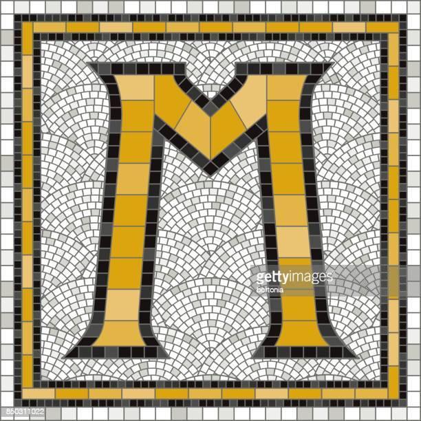 ilustraciones, imágenes clip art, dibujos animados e iconos de stock de letras del alfabeto tradicional azulejo mosaico antiguo - letra m