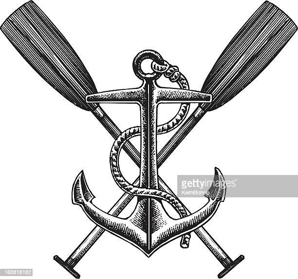 Old fashioned nautical anchor and oar illustration