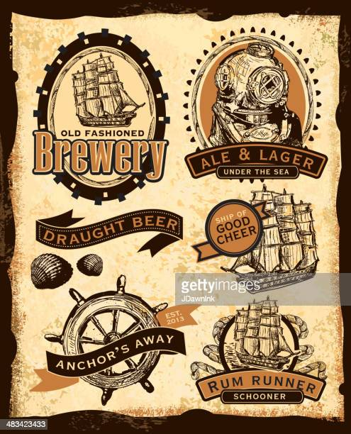 old fashioned nautical themed beer labels - beer alcohol stock illustrations, clip art, cartoons, & icons
