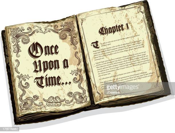 old fashioned open fairytale storybook with text design - the past stock illustrations