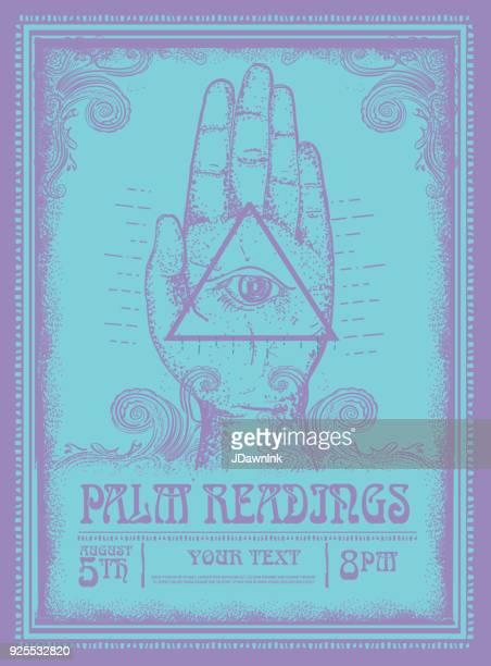 Old fashioned plantilla de diseño de cartel de Palma lecturas