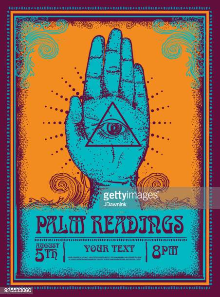 old fashioned palm readings poster design template - fortune telling stock illustrations