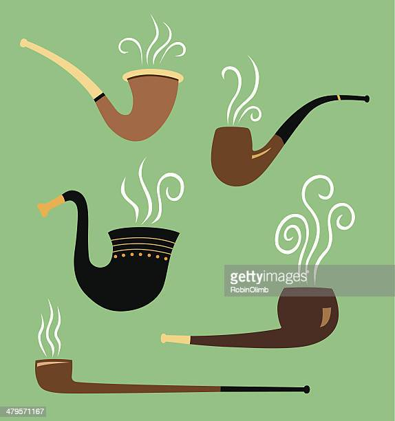 old fashioned pipes - bong stock illustrations