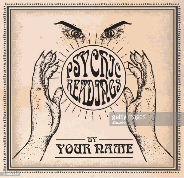 old fashioned psychic readings poster design template - fate stock illustrations
