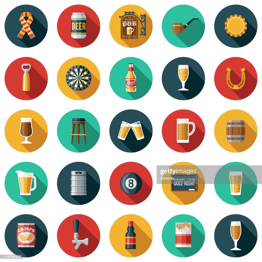 Old Fashioned Pub Icon Set : Stock Illustration