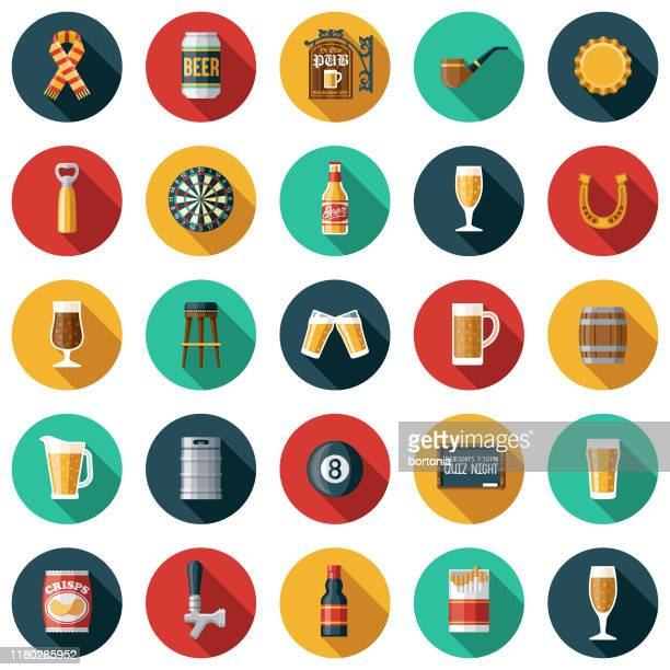 old fashioned pub icon set - drink stock illustrations