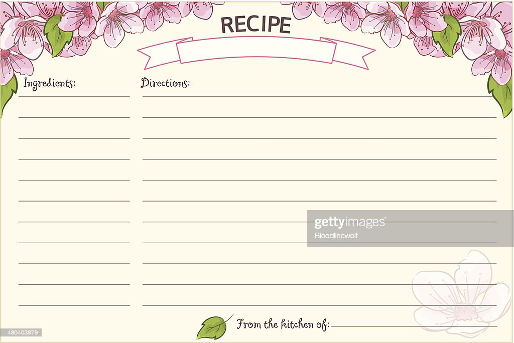 Old Fashioned Recipe Card Template Floral Vector Art Getty Images