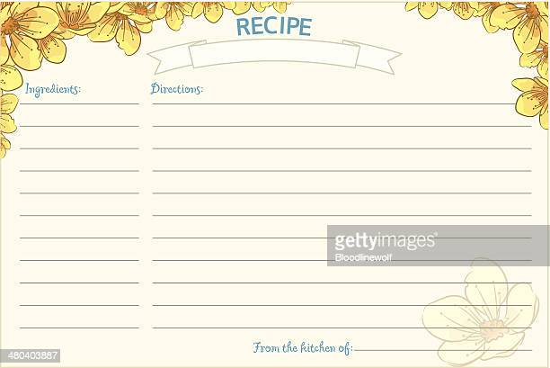 old fashioned recipe card template - floral - recipe stock illustrations