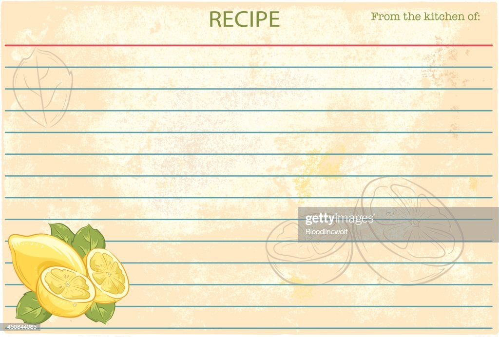 Old Fashioned Recipe Card Template - Lemons