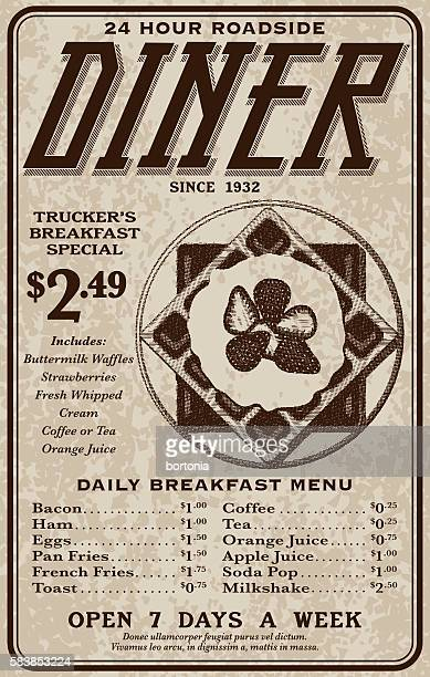 old fashioned retro roadside diner advertisement - waffle stock illustrations, clip art, cartoons, & icons