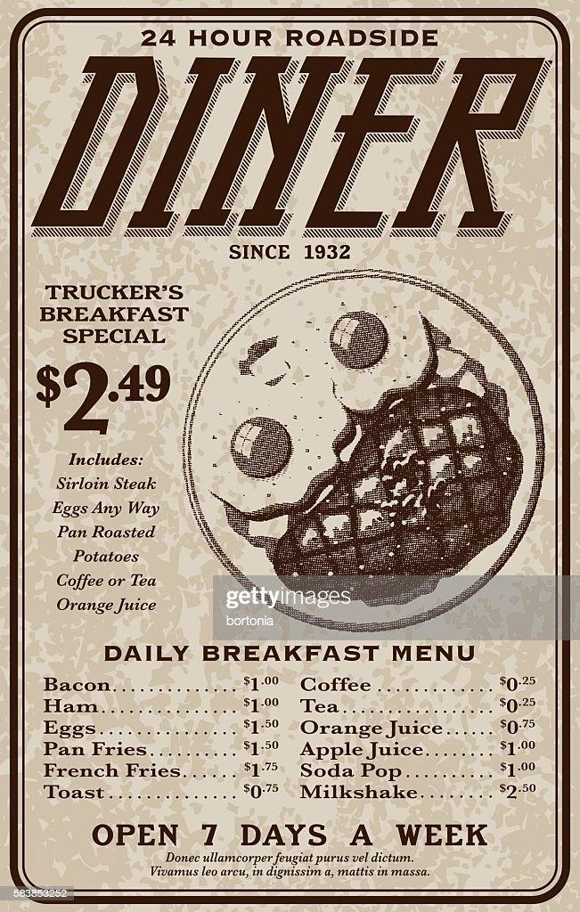Old Fashioned Retro Roadside Diner Advertisement