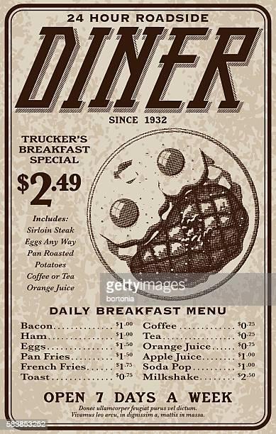 old fashioned retro roadside diner advertisement - diner stock illustrations